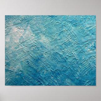 Ocean blue wall texture poster