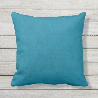 Ocean Blue Water Teal Color Velvet Look Outdoor Cushion