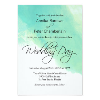Ocean Blue Watercolor and Calligraphy Wedding 13 Cm X 18 Cm Invitation Card