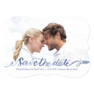 Ocean Blue Watercolor Photo Save the Date 13 Cm X 18 Cm Invitation Card
