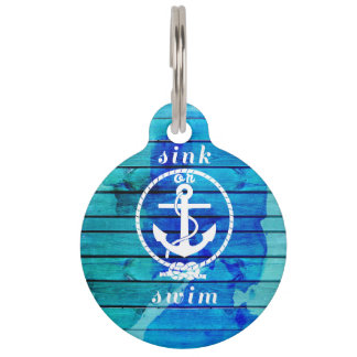 Ocean Blue Watercolor Wood and Anchor Quote Pet ID Tag