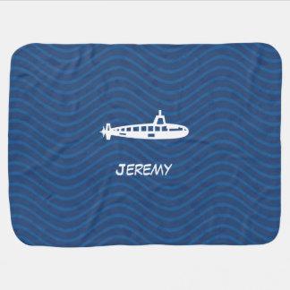 Ocean Blue Waves Submarine Baby Blanket