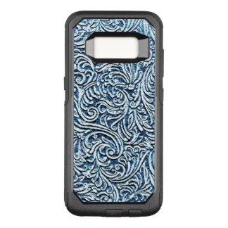 Ocean Blue White Carved Stone Look Coastal OtterBox Commuter Samsung Galaxy S8 Case