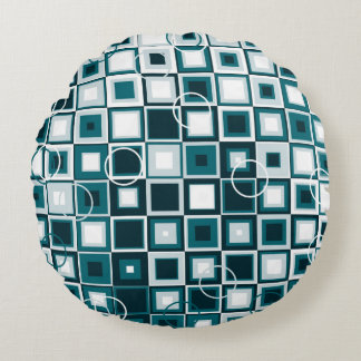 Ocean Blues and White Checkered Pattern Design Round Cushion