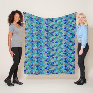 Ocean Blues Mermaid Scales Pattern Fleece Blanket