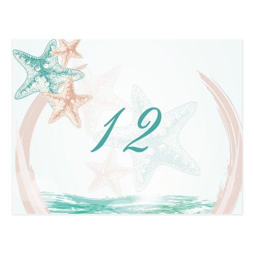 Ocean Breeze Beach Wedding Table Number Post Card