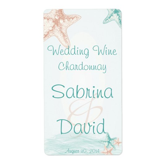 Ocean Breeze Beach Wedding  Wine Label Shipping Label