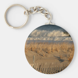 Ocean City Dunes with Waves Basic Round Button Key Ring