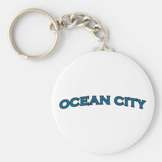 Ocean City Maryland Arched Text Logo Key Ring