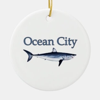Ocean City Maryland Logo (mako shark) Ceramic Ornament