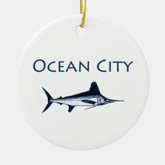 Ocean City Maryland Logo (white marlin) Ceramic Ornament