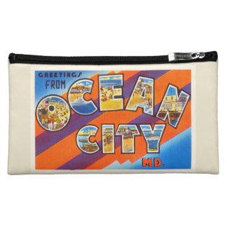Ocean City Maryland MD Vintage Travel Postcard- Makeup Bag