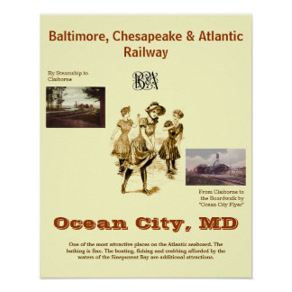 Ocean City Maryland, Vintage travel Poster