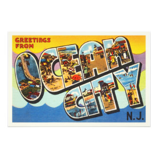 Ocean City New Jersey NJ Vintage Travel Postcard- Photographic Print