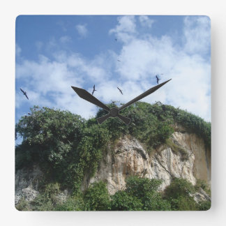 Ocean Cliffs and Sea Birds Square Wall Clock