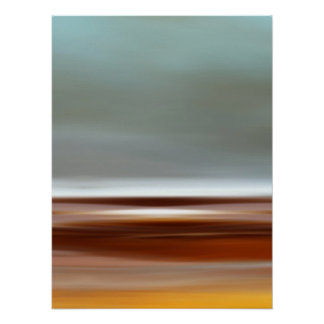 Ocean Coast Beach Sky Landscape Blue Brown Gray Poster