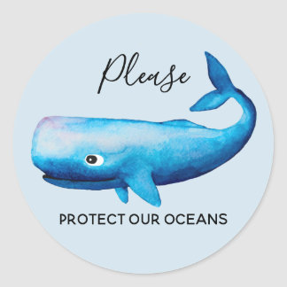 Ocean Conservation Watercolor Whale Sea Typography Classic Round Sticker