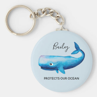 Ocean Conservation Watercolor Whale Sea Typography Key Ring