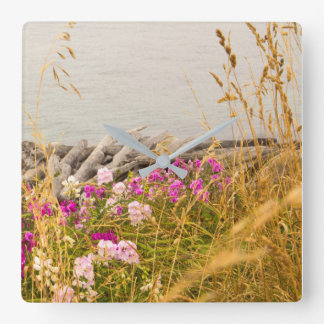 Ocean Cove with Flower Landscape Wall Decor Clock