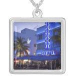 Ocean Drive, South Beach, Miami Beach, 2 Square Pendant Necklace