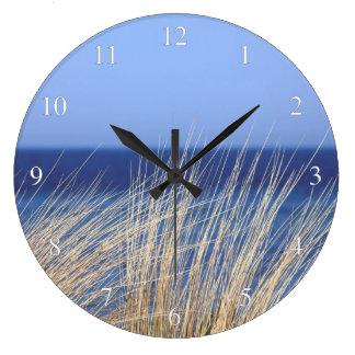 Ocean Dune Grass Small Numbers Large Clock