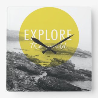 Ocean | Explore The World Quote Square Wall Clock