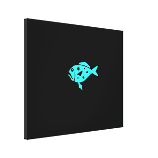 Ocean Glow_Aqua-on-Black Lonely Grouper Gallery Wrap Canvas