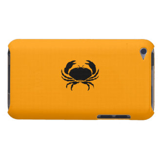 Ocean Glow_Black on Orange Crab Barely There iPod Case