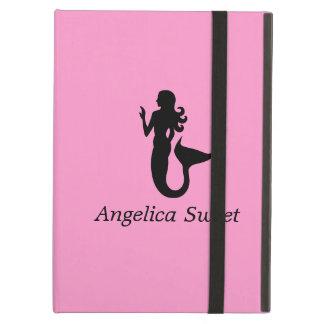 Ocean Glow_Black-on-Pink Mermaid personalized iPad Air Covers