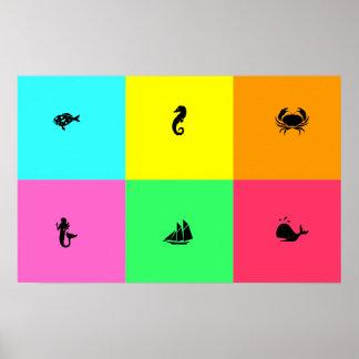Ocean Glow_six panel, multi-color, Multi-Icon Poster
