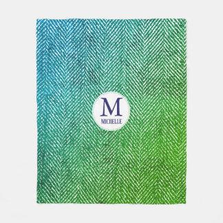 Ocean Hues Gradient Herringbone & Monogram Fleece Blanket