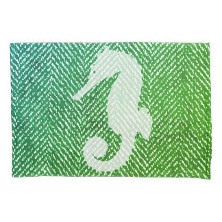 Ocean Hues Herringbone & White Seahorse Pillowcase