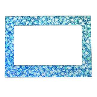 Ocean Ice Blue Stars Star Flare Firework Art Magnetic Frame