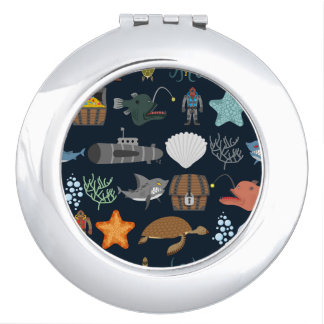 Ocean Inhabitants Pattern 1 Compact Mirror