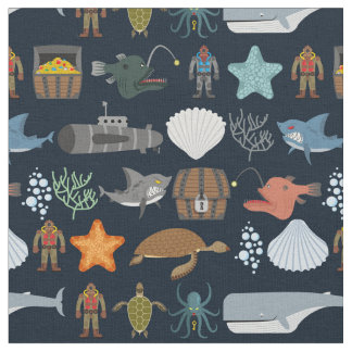 Ocean Inhabitants Pattern 1 Fabric