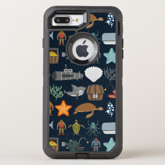 Ocean Inhabitants Pattern 1 OtterBox Defender iPhone 8 Plus/7 Plus Case