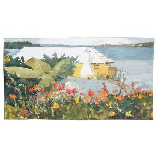 Ocean Island Bermuda Flowers House Pillowcase