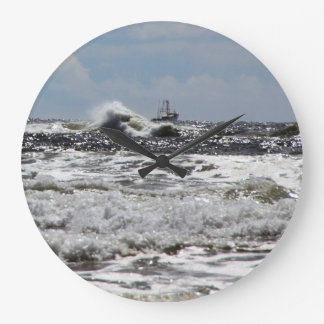 Ocean Large Clock with Ship Battling Waves