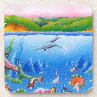 Ocean Life: Hard Plastic coasters: set of 6 Drink Coaster