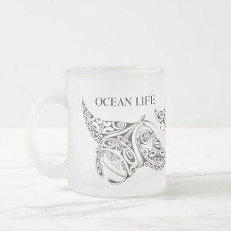 OCEAN LIFE manta-rays Frosted Glass Coffee Mug