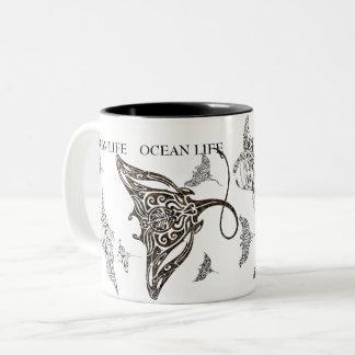 OCEAN LIFE school of manta-ray Two-Tone Coffee Mug