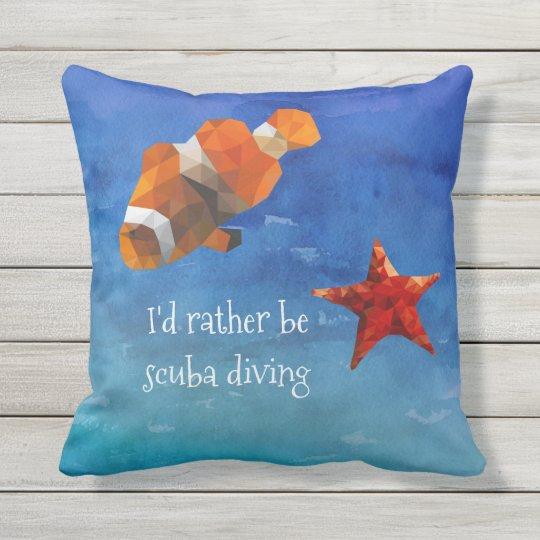 Ocean Life with Bright Orange Fish and Starfish Cushion