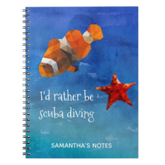Ocean Life with Bright Orange Fish and Starfish Notebook