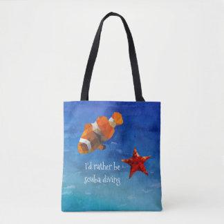 Ocean Life with Bright Orange Fish and Starfish Tote Bag