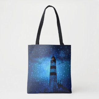 Ocean lighthouse a dark blue night with drops tote bag