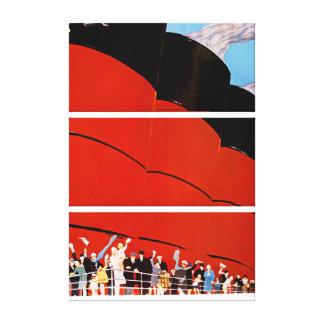 Ocean Liner Bon Voyage - L Gallery Wrapped Canvas