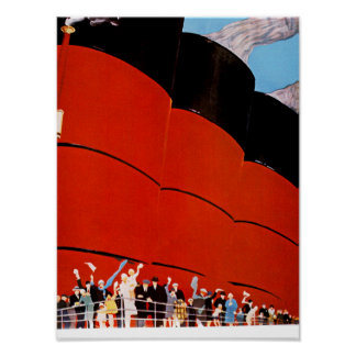 Ocean Liner Bon Voyage Poster