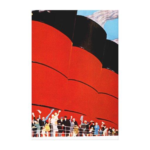 Ocean Liner Bon Voyage - XL Gallery Wrap Canvas