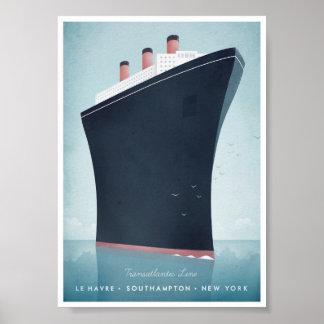 Ocean Liner Vintage Travel Poster