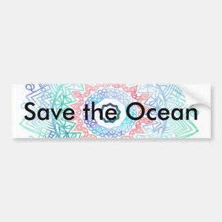 Ocean-madala. aqua blue pink bumper sticker